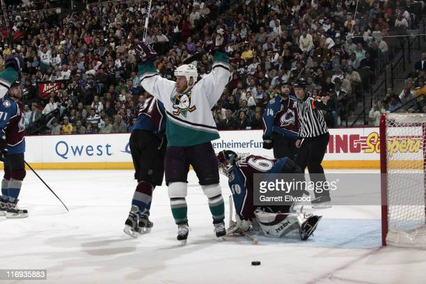 Todd Marchant of the Mighty Ducks of Anaheim celebrates a goal against the Colorado Avalanche during Game 3 of the Western Conference Semifinals on...