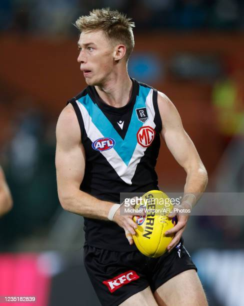 Todd Marshall of the Power in action during the 2021 AFL Second Preliminary Final match between the Port Adelaide Power and the Western Bulldogs at...