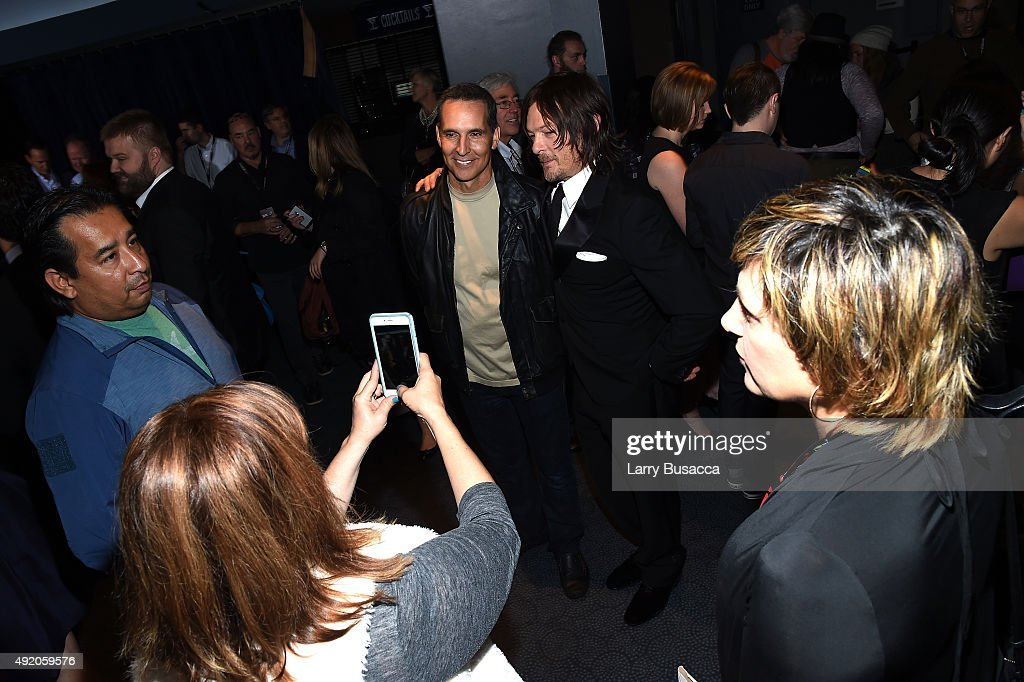 Todd McFarlane and Norman Reedus attend AMC's 'The Walking Dead' Season 6 Fan Premiere Event 2015 at Madison Square Garden on October 9, 2015 in New York City.