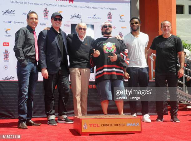 Todd McFarlane Kevin Feige Stan Lee Kevin Smith Chadwick Boseman and Clark Gregg at Stan Lee Hand And Footprint Ceremony held at TCL Chinese Theatre...