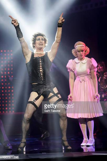Michelle Smitheram and Rob Mallett during a media preview for Rocky Horror Show at Her Majesty's Theatre on July 18 2018 in Melbourne Australia