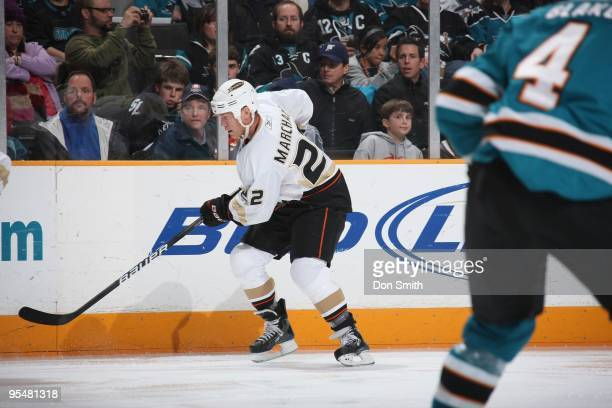 Todd Merchant of the Anaheim Ducks skates up ice during an NHL game against the San Jose Sharks on December 26 2009 at HP Pavilion at San Jose in San...