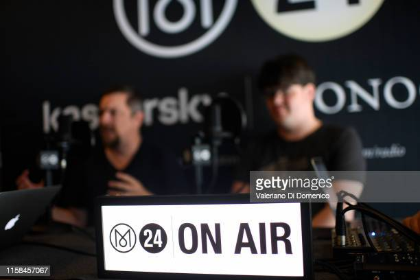 Todd Miller and Stephen Slater of Apollo 11 attend M24 pop up radio at Kaspersky Lounge during Starmus V A Giant Leap sponsored by Kaspersky at...