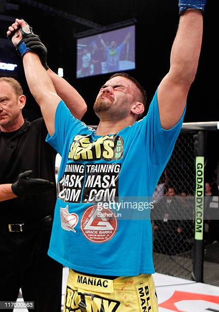 Todd Moore is victorious over Mike Bronzoulis in a Welterweight bout at the Strikeforce event at American Airlines Center on June 18, 2011 in Dallas,...
