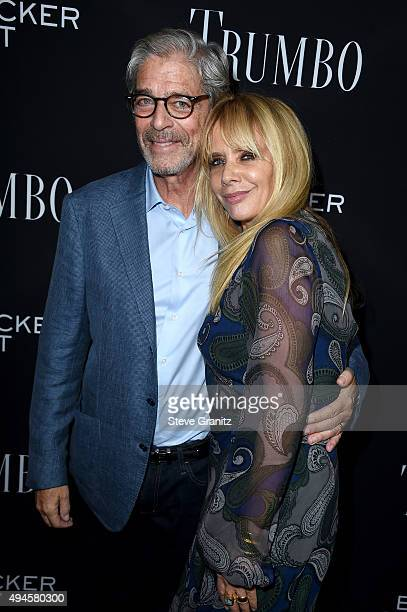 Todd Morgan and actress Rosanna Arquette attends the premiere of Bleecker Street Media's Trumbo at Samuel Goldwyn Theater on October 27 2015 in...