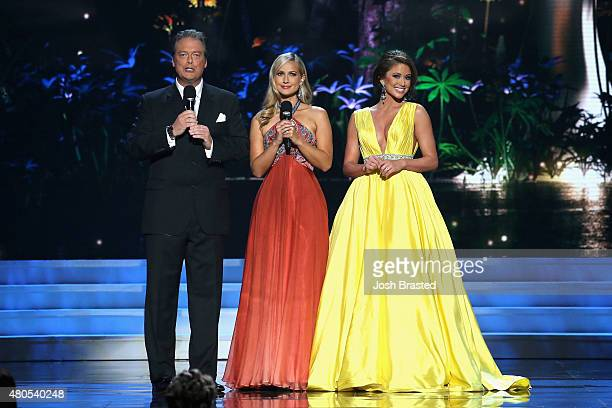 Todd Newton former Miss Wisconsin Alex Wehrley and Miss USA 2014 Nia Sanchez speak onstage at the 2015 Miss USA Pageant Only On ReelzChannel at The...
