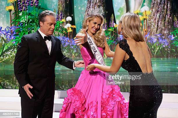 Todd Newton Miss USA Olivia Jordan of Oklahoma and Former Miss Wisconsin Alex Wehrley on stage at the 2015 Miss USA Pageant Only On ReelzChannel at...