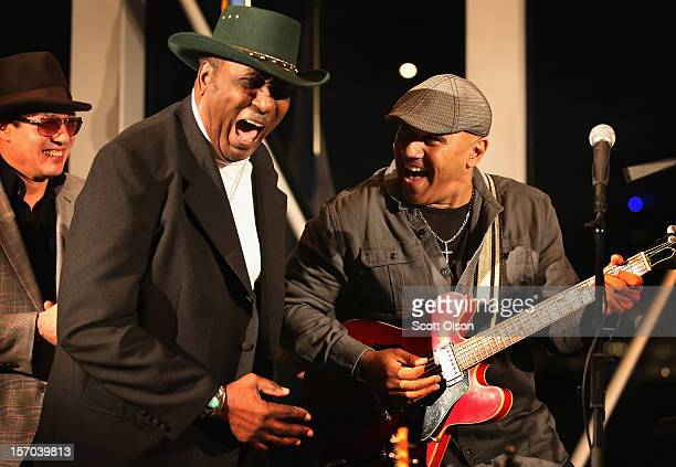 Todd Park Mohr of Big Head Todd the Monsters Eddy The Chief Clearwater and Ronnie Baker Brooks perform for blues artist Buddy Guy at a 2012 Kennedy...