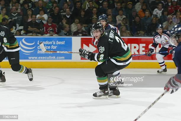Todd Perry of the London Knights skates against the Saginaw Spirit at the John Labatt Centre on September 22, 2006 in London, Ontario, Canada.