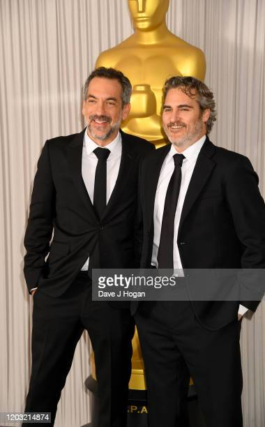 Todd Phillips and Joaquin Phoenix attend the Academy Nominees Reception 2020 at The Biltmore on January 31 2020 in London England