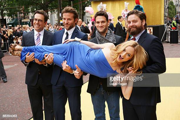 Todd Phillips Bradley Cooper Justin Bartha Zach Galifianakis and Heather Graham attend the UK Premiere of 'The Hangover' held at the Vue Cinema...