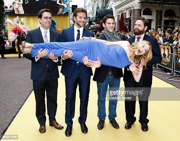 Todd Phillips Bradley Cooper Justin Bartha Zach Galifianakis and Heather Graham arrive at the UK premiere of 'The Hangover' at Vue West End on June...
