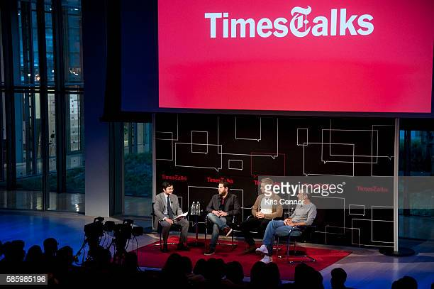 Todd Phillips Miles Teller Jonah Hill and David Itzkoff speak during TimesTalks presents the cast of 'War Dogs' at The Times Center on August 04 2016...