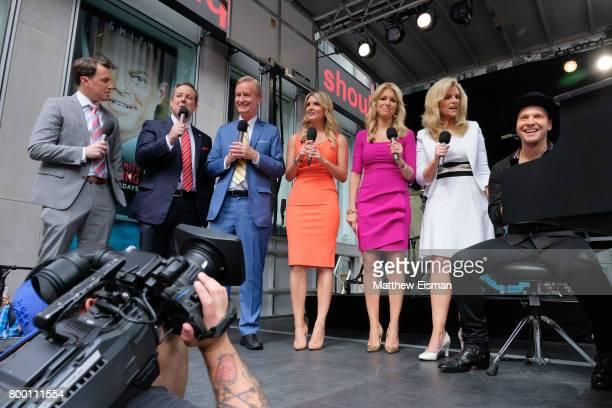 Todd Piro Ed Henry Steve Doocy Jillian Mele Ainsley Earhardt Janice Dean and Gavin Degraw attend Fox Friends' AllAmerican Summer Concert Series at...