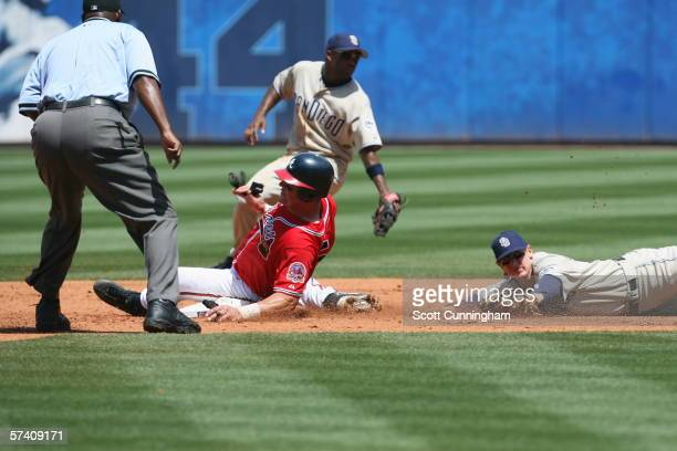 Todd Pratt of the Atlanta Braves steals second base despite the tag attempt by Khalil Greene of the San Diego Padres at Turner Field on April 16 2006...