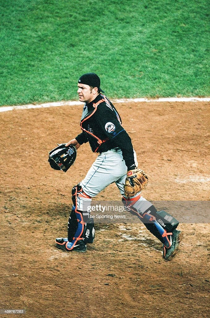 Todd Pratt of the New York Mets during Game One of the World Series against the New York Yankees on October 21, 2000 at Yankee Stadium in Bronx, New York.