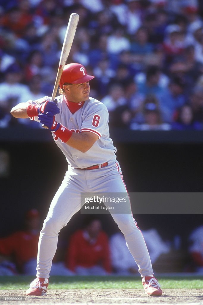 Todd Pratt #6 of the Texas Rangers prepares for a pitch during an exhibition baseball game against the Baltimore Orioles on April 1, 1994 at Camden Yards in Baltimore, Maryland.