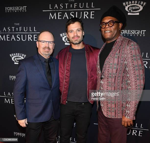 "Todd Robinson, Sebastian Stan and Samuel L. Jackson attend ""The Last Full Measure"" Atlanta red carpet screening at SCADshow on January 20, 2020 in..."