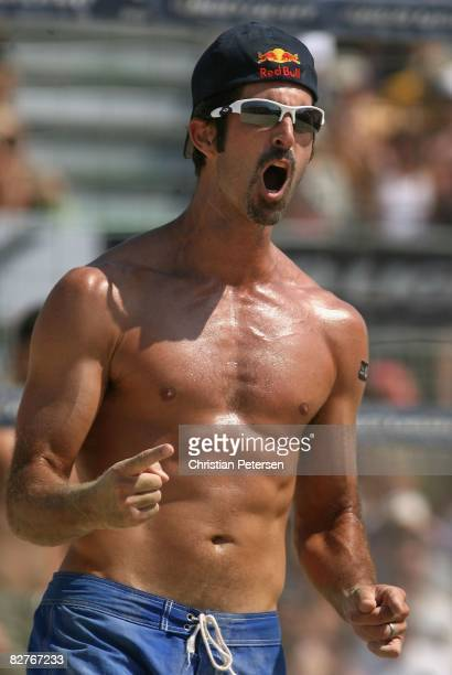 Todd Rogers celebrates a point in the AVP Santa Barbara Open semi final match on September 7, 2008 in Santa Barbara, California. Phil Dalhausser and...