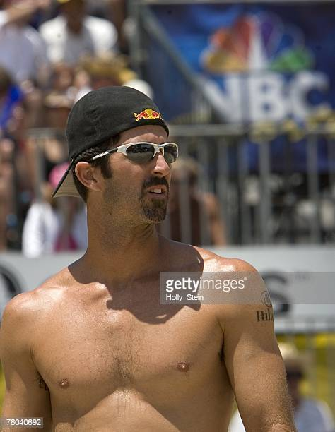 Todd Rogers waits for play during the men's finals in the AVP Long Beach Open at Marina Green Park on July 22 2007 in Long Beach California...