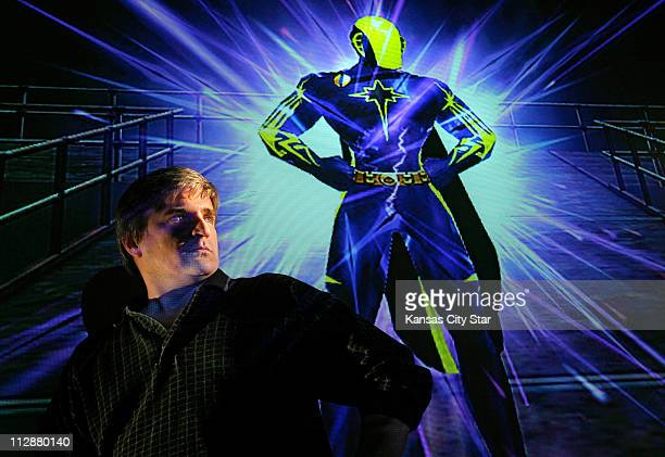 Todd Schrivener of Kearney Missouri stands with his online avatar 'Shocking Blue' from City of Heroes February 9 2008 Creating an online avatar...