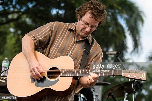 Todd Sheaffer of Railroad Earth performs on stage at Mizner Park Amphitheater on January 15 2017 in Boca Raton Florida