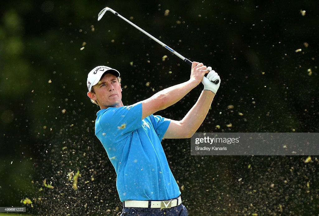 Todd Sinnott of Australia plays a shot on the 11th hole during day one of the 2015 Australian PGA Championship at Royal Pines Resort on December 3, 2015 in Gold Coast, Australia.
