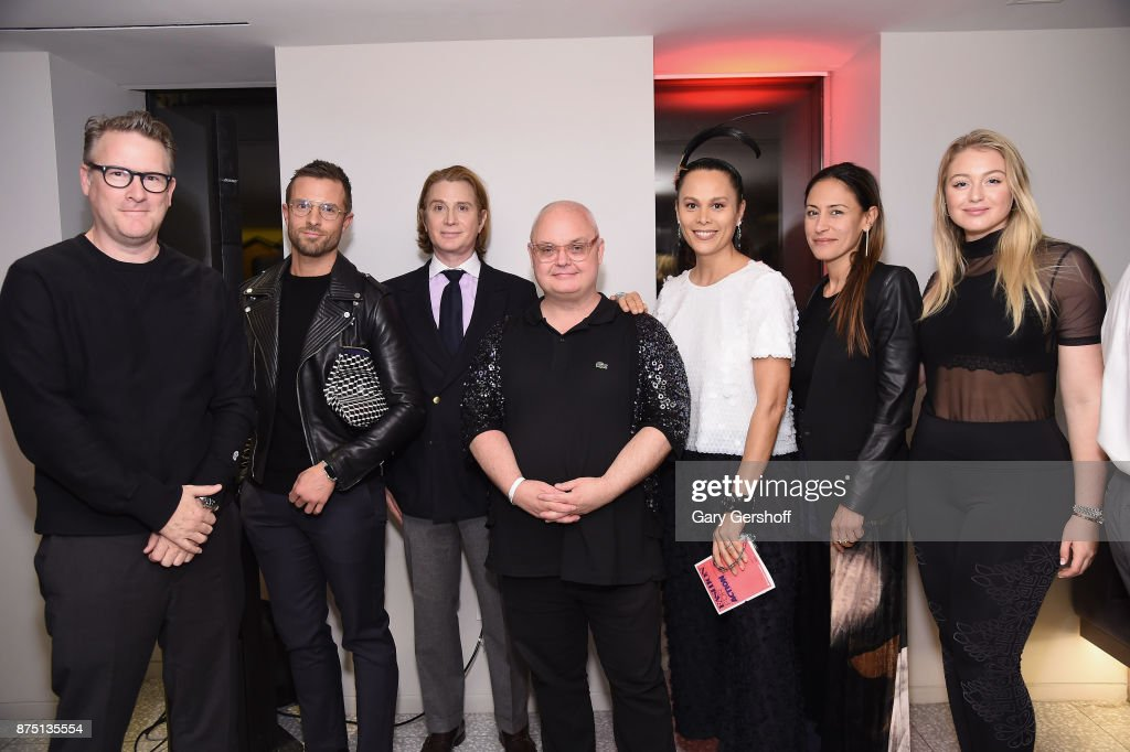 Todd Snyder, Preston Konrad, Eric Javits, event host Mickey Boardman, Natalie Kates, Mara Hoffman and Iskra Lawrence attend Housing Works' Fashion for Action 2017 charity event at Fred's at Barney's on November 16, 2017 in New York City.