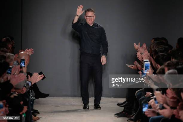 Todd Snyder walks the runway at the Todd Snyder fashion show during NYFW Men's at Skylight Clarkson North on February 1 2017 in New York City