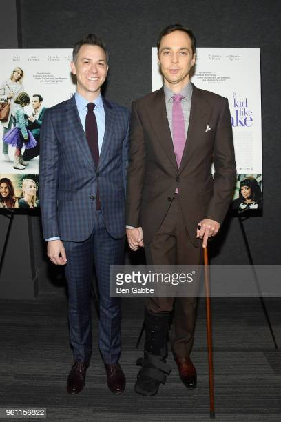 Todd Spiewak and actor Jim Parsons attend the A Kid Like Jake New York Premiere at The Landmark at 57 West on May 21 2018 in New York City