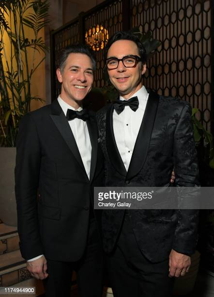 Todd Spiewak and Jim Parsons attend the 2019 Netflix Creative Arts Emmy After Party at Hotel Figueroa on September 15, 2019 in Los Angeles,...