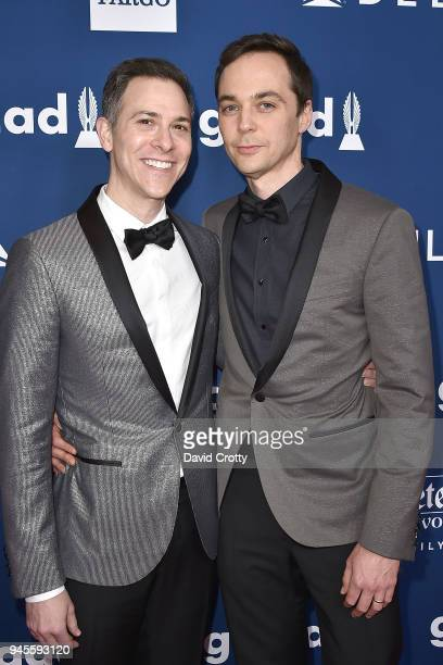Todd Spiewak and Jim Parsons attend the 29th Annual GLAAD Media Awards Arrivals at The Beverly Hilton Hotel on April 12 2018 in Beverly Hills...