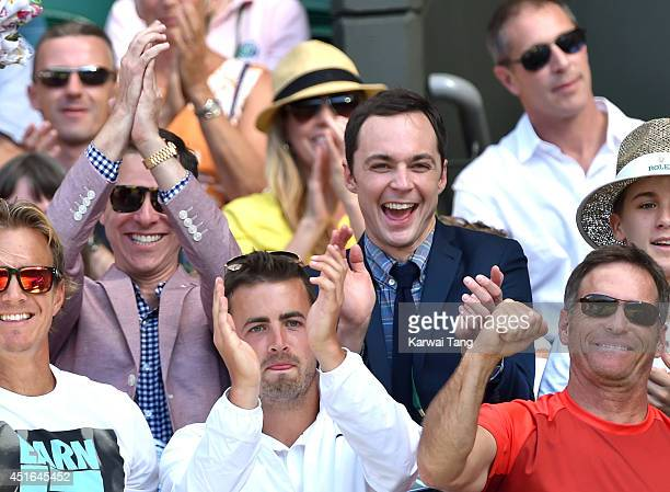 Todd Spiewak and Jim Parsons attend the quarter final match beteween Eugenie Bouchard v Simona Halep on centre court during day ten of the Wimbledon...