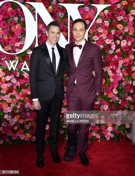 Todd Spiewak and US actor Jim Parsons attend the 2018 Tony Awards Red Carpet at Radio City Music Hall in New York City on June 10 2018