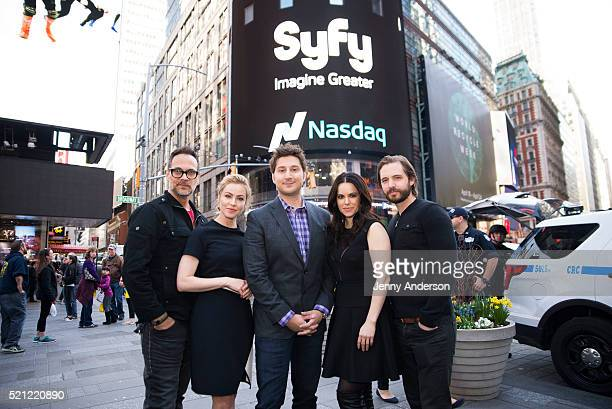 Todd Stashwick Amanda Schull Terry Matalas Emily Hampshire and Aaron Stanford of Syfy's 12 Monkeys ring the Nasdaq Stock Market Closing Bell at...
