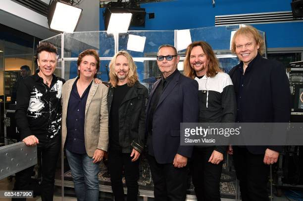 Todd Sucherman Lawrence Gowan Tommy Shaw Chuck Panozzo James 'JY' Young and Ricky Phillips of rock band Styx perform at Classic Rewind at SiriusXM...
