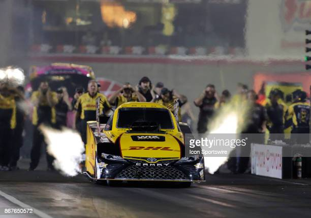 Todd Toyota Camry NHRA Funny Car races during the NHRA Toyota Nationals on October 28 2017 at The Strip at Las Vegas Motor Speedway in Las Vegas...