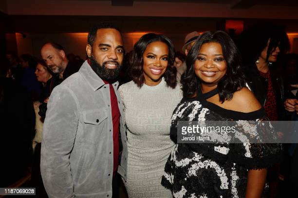 Todd Tucker Kandi Burruss and Octavia Spencer attend the after party of Apple TV's 'Truth Be Told' on November 11 2019 in Beverly Hills California