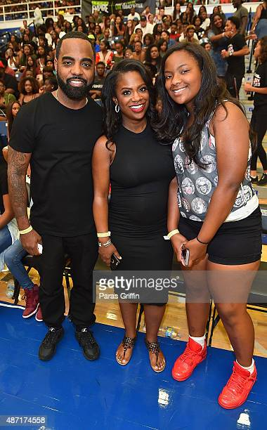 Todd Tucker Kandi Burruss Riley Burruss attend LudaDay Weekend Annual Celebrity Basketball Game at Georgia State University Sports Arena on September...