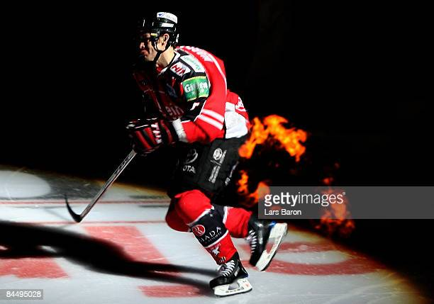 Todd Warriner of Koeln skates on the ice prior to the DEL match between Koelner Haie and Sinupret Ice Tigers at the Lanxess Arena on January 27 2009...