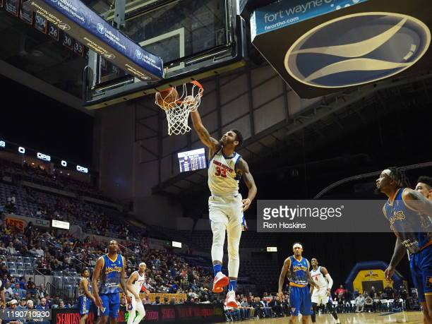 Todd Withers of the Grand Rapids Drive jams on the Fort Wayne Mad Ants on December 28 2019 at Memorial Coliseum in Fort Wayne Indiana NOTE TO USER...