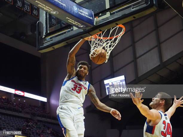 Todd Withers of the Grand Rapids Drive jams on the Fort Wayne Mad Ants on December 28, 2019 at Memorial Coliseum in Fort Wayne, Indiana. NOTE TO...