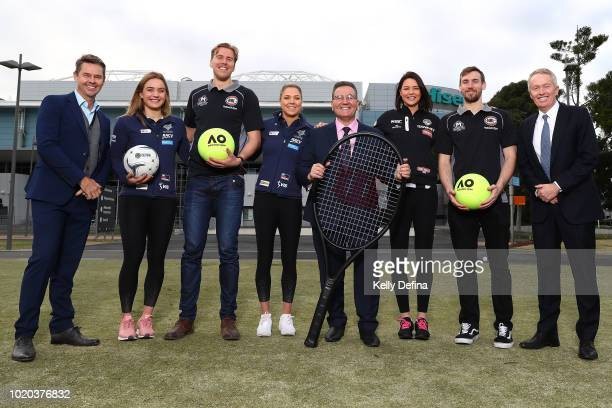 Todd Woodbridge 22time Grand Slam champion Liz Watson of the Melbourne Vixens Daniel Trist of Melbourne United Kate Moloney of the Melbourne Vixens...