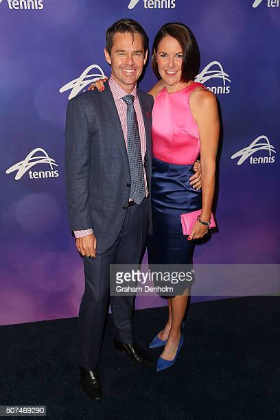 Todd Woodbridge and wife Natasha Woodbridge pose at the Legends Lunch during day thirteen of the 2016 Australian Open at Melbourne Park on January 30...