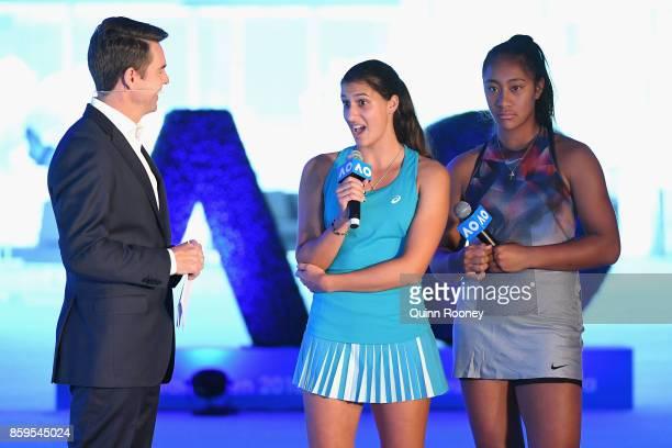 Todd Woodbridge speaks to Australian tennis players Jaimee Fourlis and Destanee Aiava during the 2018 Australian Open Launch at Tennis HQ on October...