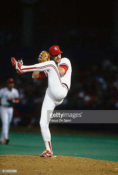 Todd Worrell of the St Louis Cardinals pitches on the mound during Game Five of the World Series against the Kansas City Royals at Busch Stadium on...