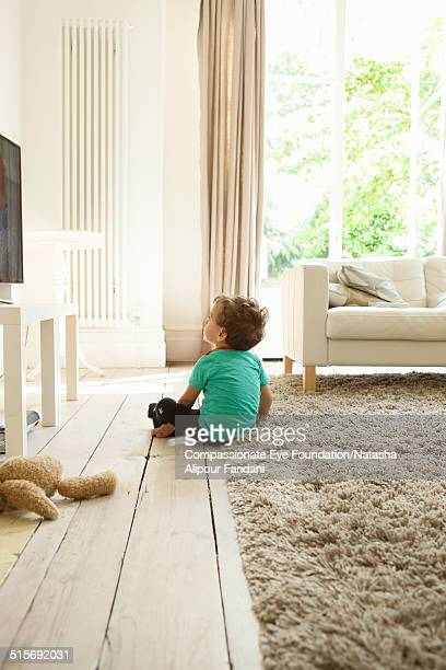 Toddle watching television in living room