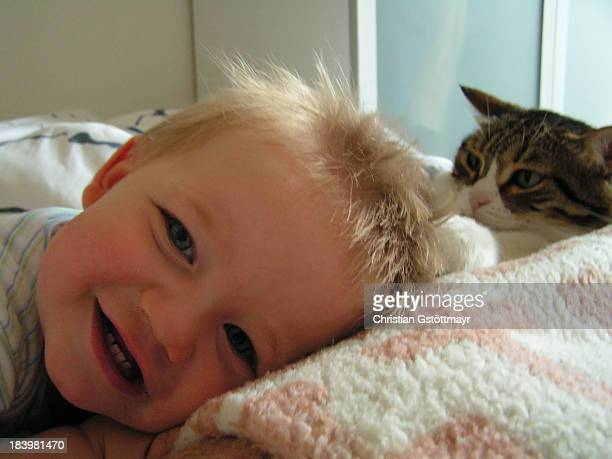 Toddler and Cat