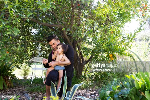 Toddler and father under tangerine tree eating tangerines