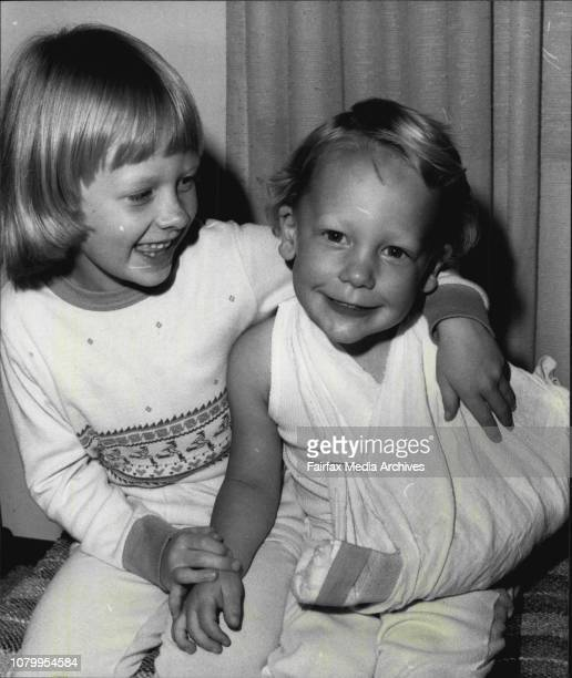 Toddler Andrew Finlay with his sister Ailee 6 years who has with him when the accident happened the exercise bike was given away that caused itA West...